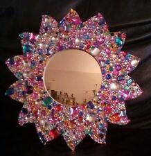 HANDMADE GEM ENCRUSTED FRAMED MIRROR - sun shaped frame 33cm unique girly gift
