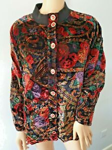 Gorgeous Floral Black Red Green Velveteen Vintage Jacket By Oyster Size 14/16/18