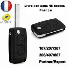 Clé  Peugeot 207  307  308  407  607  flip Télécommande + Logo autocollant