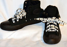 6.5 Converse All Star Black Canvas Ankle High Tennis Shoes Skull Star Shoe Laces