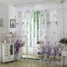 Bedroom Kitchen Sorghum Curtains Flower Tulle Room Sheer Door Window Curtains GR
