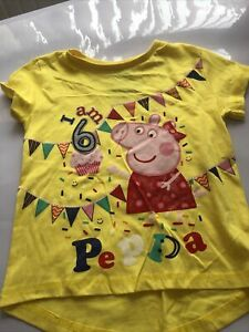 Girls T-Shirt Peppa Pig Tee Happy Birthday Top Cotton I Am Age 1 2 3 4 5 Years