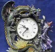 Wizard Dragon Skull Clock Statue Quartz Crystal Ball Magic of Harry Potter oz