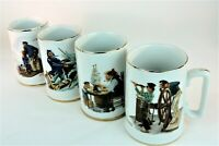 Vintage Norman Rockwell 4 Mugs The Seafarers Tankard Museum Collection 1985 EUC