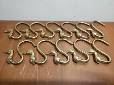 Vintage Brass Duck Geese Head Curtain Hooks 11pc set