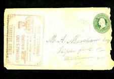 US Postal History #U163 1874 Advertising Carriages Wagons Horse Shoe Terrell TX