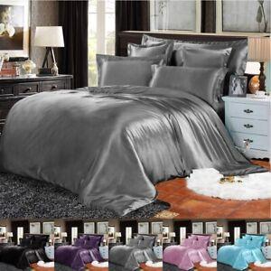 Satin Duvet Quilt Cover Fitted Sheet & 4 Pillowcases Silk 6 Piece Bedding Set