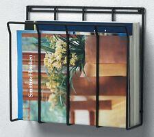 Black Steel Magazine Holder Wall Mounted Metal Wire Rack Caddy Storage Bathroom