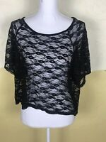Forever 21 Womens Size Small Shirt Black Sheer Lace Short Sleeve