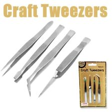 12 X Set of 4 Craft Tweezers Hobbies Jewellery Soldering Beads Curved Straight