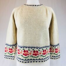 Nicholas Mosse Sweater Ladies Small Nordic Flower Motif Linen Wool Joan Millar