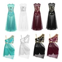 Girl Sequins Lyrical Ballet Dance Dress Kids Tank Leotard Tutu Dancewear Costume