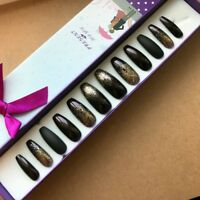 Hand Painted False Nails XL COFFIN (or ANY) Dark Red/Purple Bronze Glitter Xmas