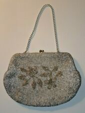 4332ec7d1aefc Vintage Silver Hand Beaded Walborg Clutch Purse with Chain Made in Hong Kong