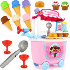 31pcs Ice Cream Cart Shop Toy Pretend Play Set with Horn Kids Funny Food Set US