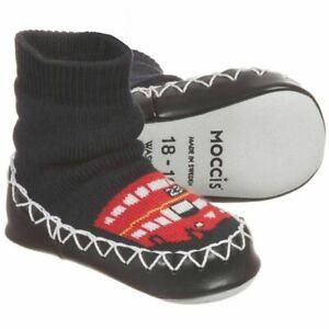 Designer Swedish MOCCIS baby slippers boys girls socks moccasins London Bus NEW