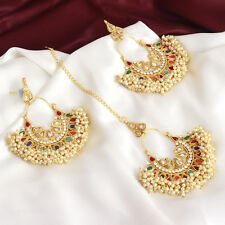 Indian Bollywood Pearl Bead Forehead Multi Color Maang Tikka earring Jewelry Set