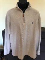 Polo Ralph Lauren Quarter Zip Pullover Ribbed Khaki Beige Men's Large Pony Logo