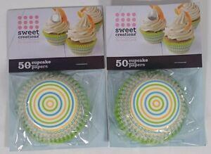 2 Packs of 50 Cupcake Papers  Sweet Creations Good Cook Green, Orange, Blue