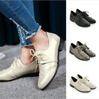 Women's Flat Heel Oxfords Brogues Wingtip Lace Up Shoes Casual Shoes Size 34-50