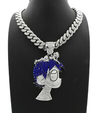 LIL UZI VERT CUBAN LINK SILVER CHAIN PENDANT DIAMOND NECKLACE CARTOON  RAPPER