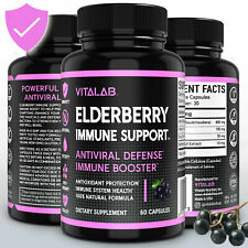 Elderberry Capsules Antiviral Defense Vitamins 1000mg Immune Support 60 Capsules