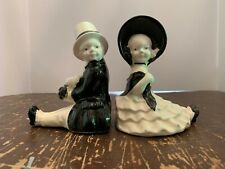 Vintage Art Deco Ceramic Boy and Girl Figural Bookends Made In Japan