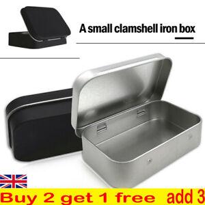 Small Metal Tin Silver Storage Box Case Organizer For Coin Candy Keys Reusable