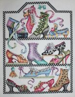 Bucilla Antique Shoes Collection Cross Stitch Completed Finished Unframed