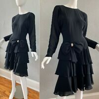 Vintage 80s Black BOW Sheer Dolman Tiered Ruffle Drop Waist Party Prom Dress S