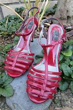 8.5M Red Glint Natalie Leather Caged High Kitten Heel Ankle Strap Women's Shoes