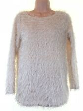 TOPSHOP oh my love concession ivory fringe teddy slouch fit jumper size XS 6 - 8