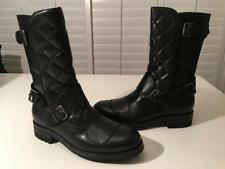 $1500 NIB Ralph Lauren Purple Label Black Leather Grover Quilted Moto Boots 10.5