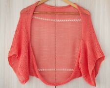 Coral red summer knit shrug sweater crochet cotton cardigan womens jacket loose