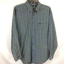 IZOD - Blue Check Long Sleeve Button Front Collared Shirt size M Mens