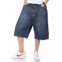 Big Tall Mens Shorts Jean Relaxed Fit Hip Hop Denim Shorts Fine Embroidery 30-46