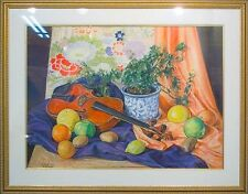 "SC Schoneberg ""Still Life With Violin & Obi"" Original Pastel Drawing MAKE OFFER!"
