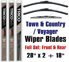 Chrysler Town & Country 1996-2000 Wiper Blades 3-Pk Front & Rear - 19280x2/30180