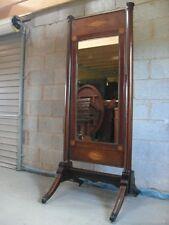 Superb Regency inlaid Mahogany cheval dressing mirror