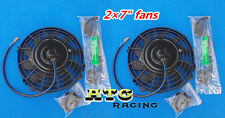 "2 × 7"" 12V Universal Electric Radiator Cooling  Fan + mounting kit MGA/MGB GT"