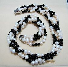 Wonderful Combination 4 Strands Natural  Fresh Water pearls &Black Onyx Necklace