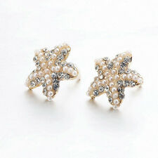 Rhinestone Earrings Starfish Ear Stud Earrings Handmade Pearl Beach Unisex Ear