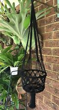 Macrame Plant Hanger Single Black, Boho X 1 Retro