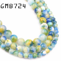 Natural Blue Yellow Persian Jade Stone Round Loose Beads for Jewelry Making