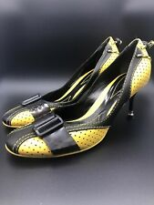 Baldinini High Heels Yellow And Black Leather Size 38 1/2