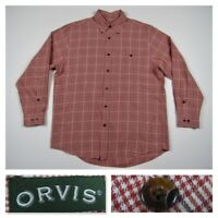 Orvis Mens Red Plaid Check Button Front Long Sleeve Shirt Wool New Large