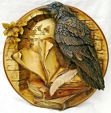 Carved Wooden Plate Raven nature 3d effect Beautiful details incredible gift