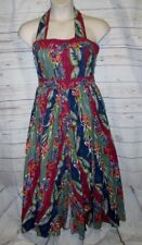 Vtg 80's Dress 14 Halter Retro Rockabilly Style Fit Flare Midi Floral Tea Button