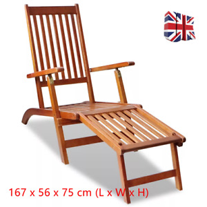 Wooden Deck Chair Sun Foldable Lounger Recliner Chair Outdoor Garden Patio