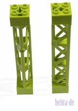 LEGO - 2 x Gittermast 2x2x10 hell grün ( lime ) Stütze Pfosten / 95347 NEUWARE